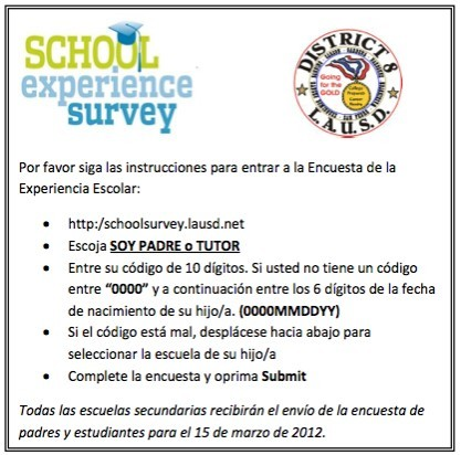 Parent Survey Instruct Span